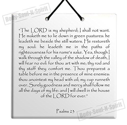 (Body-soul-n-spirit Dining Holy TEHILLIM Psalms Chapter: 23 Wall Hanging Tile Decor Torah Bible Judaica)