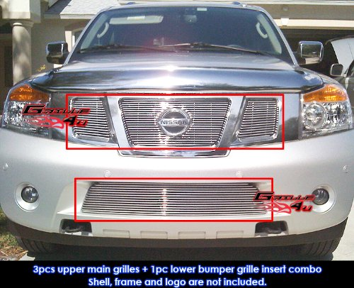 Fits 2008-2013 Nissan Armada Billet Grille Grill Insert with Logo Show Combo # N67779A ()