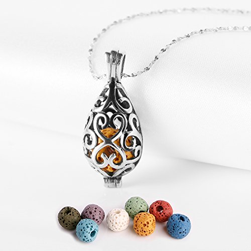 Maromalife Polished Essential Oil Necklace Stainless Steel Necklace Diffuser Locket Silver Teardrop with 8 Colors Lava Beads [ Christmas Gift ]