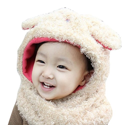 Winter Infant Baby Toddler Kid Hat Scarf Earflap Hood Scarves Skull Caps, Pink