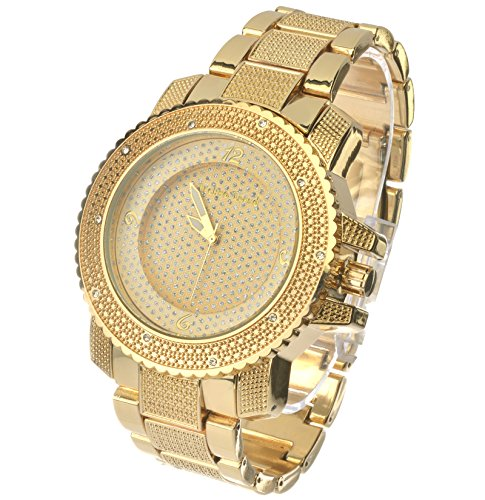 Techno Trend Mens Hip Hop Luxury Dial Iced Out Gold Plated Heavy Bezel Case Metal Band Watches ET 1190