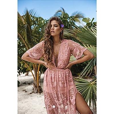 Eleter Women's Deep V-Neck Lace Romper Short Sleeve Long Dress at Women's Clothing store