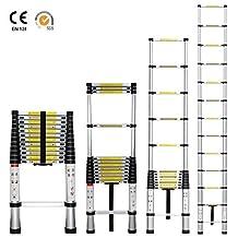Portable 12.5 Feet Aluminum Telescoping Extension Ladder, 12 Steps
