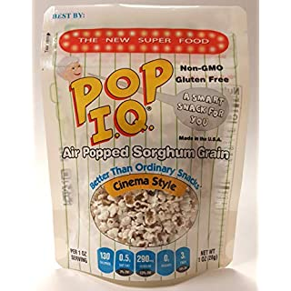 Pop I.Q. Cinema Style - The Best Healthy Snack – Air Popped Organic Sorghum Grain – Non-GMO, Vegan, Gluten-Free (Pack of 12 Single Servings)