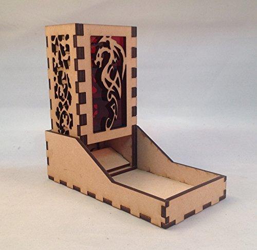 Dragon Mini Dice Tower v4 Red Acrylic Window Laser Cut MDF Unique Gift
