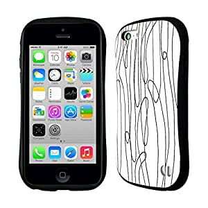 DIY Case Designs Seaweeds Black and White Doodle Patterns Hybrid Gel Back Case for Apple iPhone 5c by ruishername