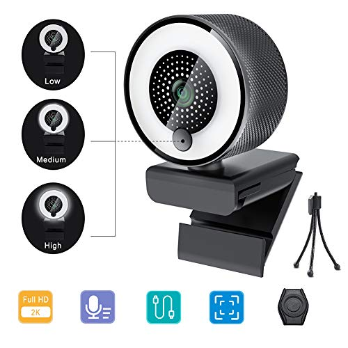 2020 2K Webcam with Ring Light Microphone, Advanced Auto-Focus, Adjustable Brightness with Touch Control, Web Camera for Windows Mac OS, Plug and Play, for Zoom, YouTube, Skype, Video Call, Conference