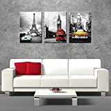 new york and paris wall art - CanvasCEO NYC Paris London Eiffel Tower New York City France Europe Big Ben Car Double Decker Red Bus 3 Panel Set Wall Art Decor Canvas Framed Ready to Hang Print Fiberboard (20x14x1