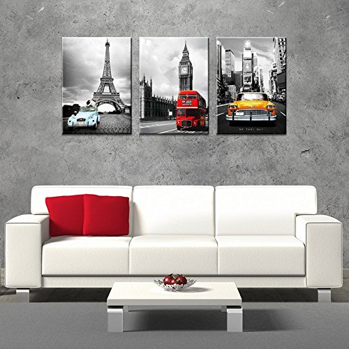 CanvasCEO NYC Paris London Eiffel Tower New York City France Europe Big Ben Car Double