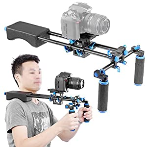 Neewer Portable FilmMaker System With Camera/Camcorder Mount Slider, Soft Rubber Shoulder Pad and Dual-hand Handgrip For All DSLR Video Cameras and DV Camcorders