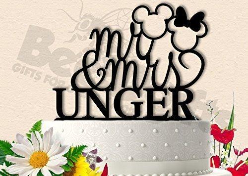 Classy Mickey and Minnie Personalized Wedding Cake -