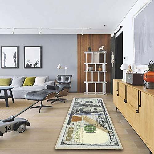 Real Hundred Dollar Bill (Adarl New Rugs One Hundred Dollar ($100) Bill Print New Benjamin Non-Slip Area Rug Runner for Living Room Bedroom -)