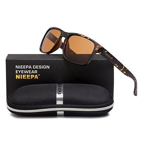 Square Polarized Wayfarer Sunglasses Retro Classic Stylish Brand Design Sports Sun Glasses for Men Women Vintage Driving Fishing 100% UV Protection Glasses (Brown Lens/Leopard - Uv Best Protection Sunglasses