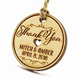 Summer-Ray 50 Personalized Mini Round Wooden Wedding Favor Gift Tags