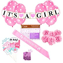 Baby Shower Party Decorations Kit: It's A Girl Pink Theme Welcome Supplies for Babies & Newborns With Confetti, Pennant Banner, Mommy To Be Sash, 6 Tissue Balls, 8 Photo Props & 10 Polka Dot Balloons