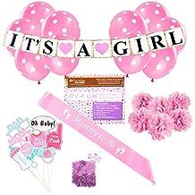 Decoración para Baby Shower: Temática rosa de niña Suministros de bienvenida para bebés y recién nacidos con confeti, pancarta, Cinta de futura mamá, 6bolas de tela, 8 accesorios para foto y 10globos de lunares,