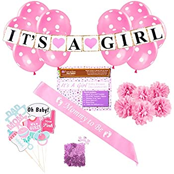amazon com baby shower party decorations kit it s a girl pink