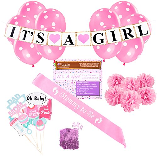 Baby Shower Party Decorations Kit: It's A Girl Pink Theme Welcome Supplies for Babies & Newborns With Confetti, Pennant Banner, Mommy To Be Sash, 6 Tissue Balls, 8 Photo Props & 10 Polka Dot Balloons (Baby Shower Cheap Decorations)