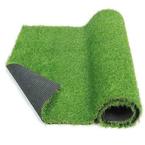 ECO MATRIX Fake Grass Rug Artificial Grass Carpet Indoor Outdoor Green Lawn Mats Landscape Synthetic Grass Turf for Pet Dog Area and Decoration(3.3ft x 10ft)]()
