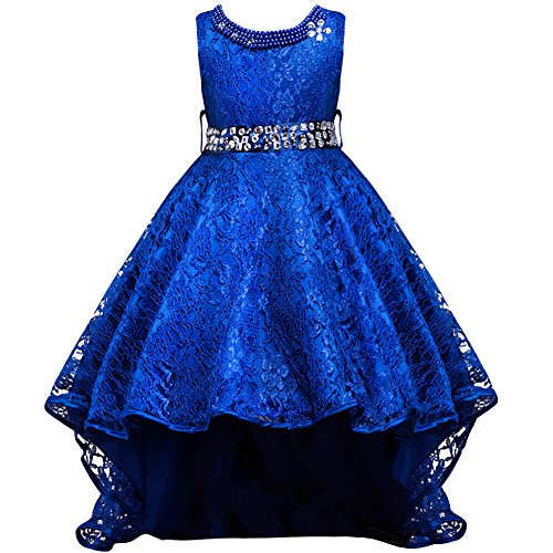 Flower Girls Vintage Overlay Lace Beaded Rhinestone Bridesmaid Wedding Tulle Dresses Party Evening Gown Blue 12-13 -