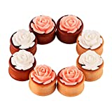 Longbeauty 4 Pair Organic Wood Ear Plugs with Pink/White Rose Flower Fresh Tunnels Stretcher Piercing 6MM