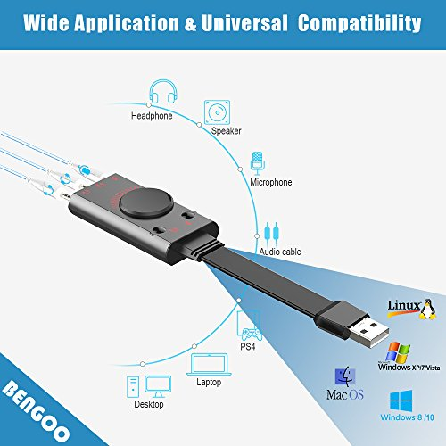 USB Sound Card Adapter BENGOO External Audio Adapter Stereo Sound Card Converter 3.5mm AUX Microphone Jack for Gaming Headset Earphone PS4 Laptop Desktop Windows Mac OS Linux, Plug Play by BENGOO (Image #2)