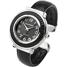 Top Plaza Women Casual Chic Simple Small Dial Bangle Cuff Bracelet Dress Quartz Watch 6'',Thanksgiving Christmas Gift,Black