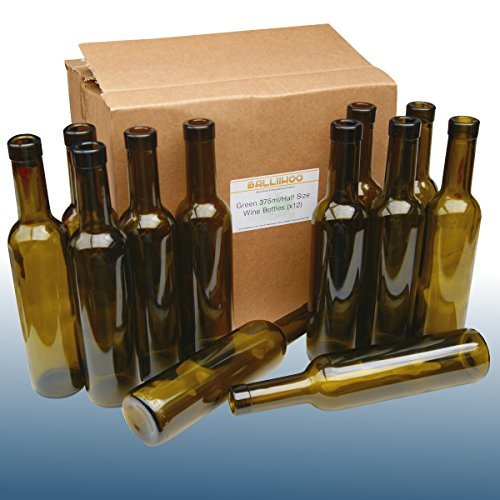 375 Ml Half Bottle (BalliihooÃ'Â 375ml / Half Size Green Wine Bottles For Home Made Wine and Liqueurs by)