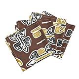Roostery Tiki Aloha Hawaiian Hawaii Tahiti Polynesia Kawaii Organic Sateen Dinner Napkins Moko 1D by Muhlenkott Set of 4 Dinner Napkins