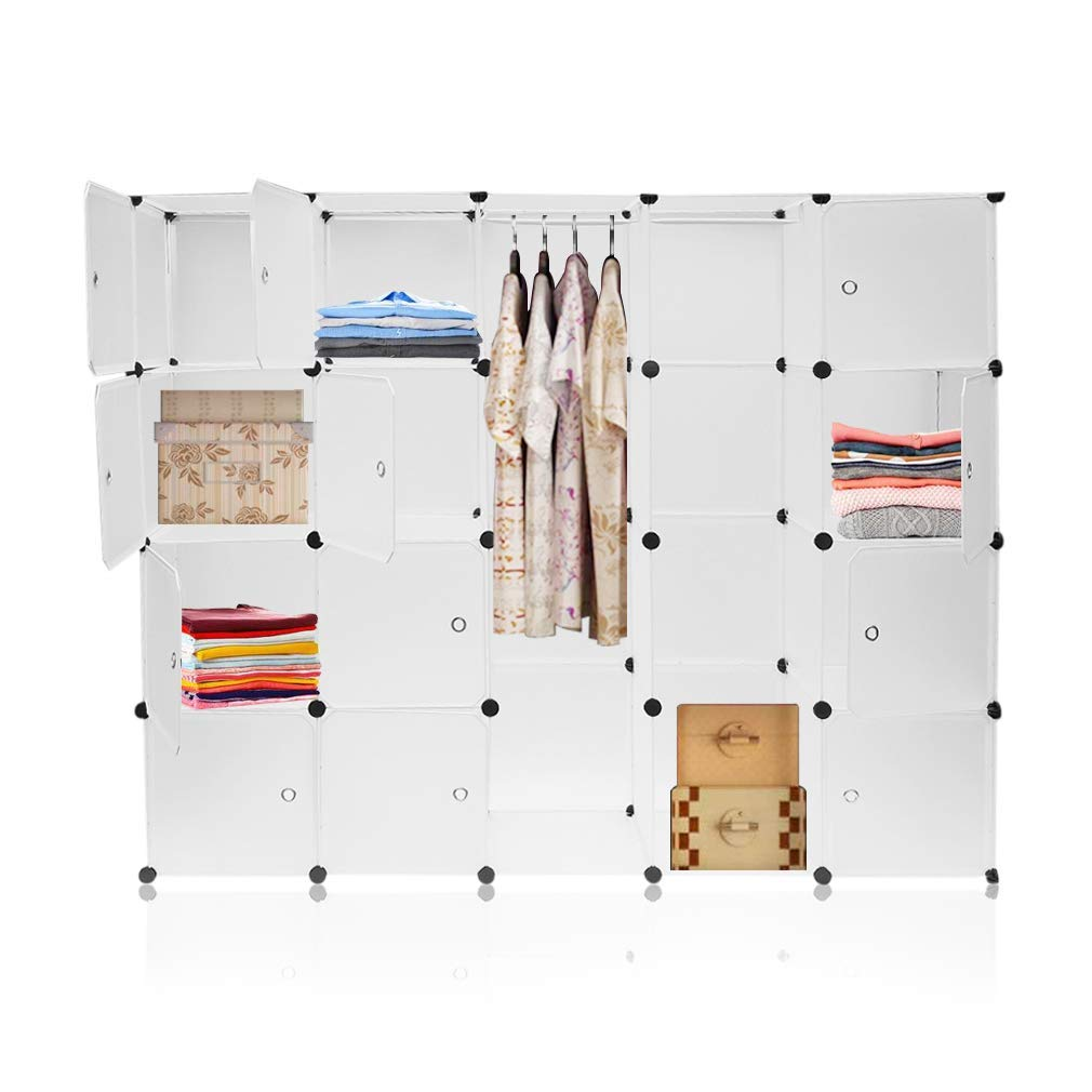 DIY Cloth Wardrobe Shelving system Folding Closets with Fabric Cupboard Clothes Rail Space-saving Cube Modular Storage 20 Units for Home Bedroom Hongyans