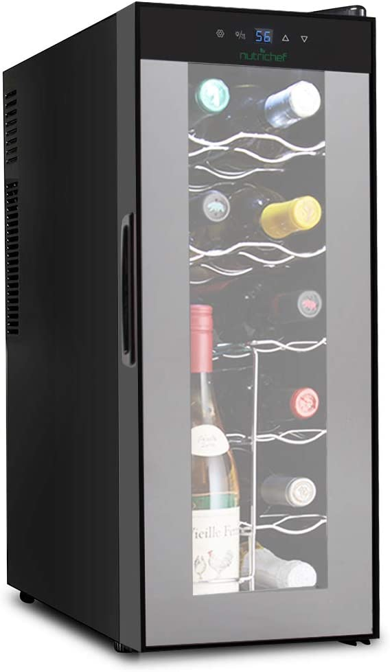 NutriChef PKTEWC120 Nutrichef 12 Bottle Thermoelectric Wine Cooler Refrigerator Red, White, Champagne Chiller Counter Top Wine Cellar Quiet Operation Fridge Touch Temperature Control