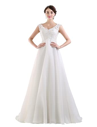 BessWedding Cocktail Prom Dresses with Cowl Back Lace Wedding Dresses with Beads Ivory Size 2