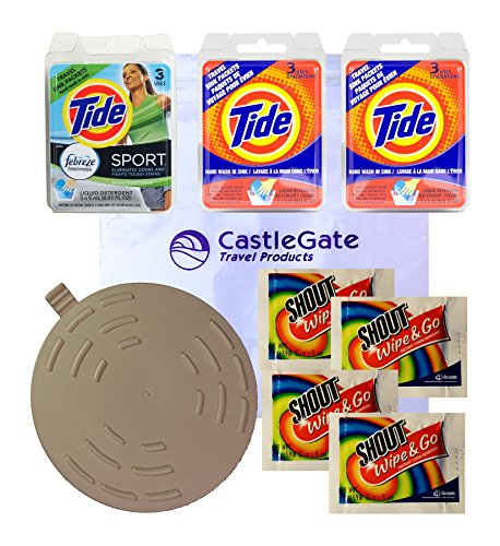 Travel Laundry Kit with Tide Sink Packs, Shout Wipes,Tide Sport Laundry Detergent and Drain Stopper
