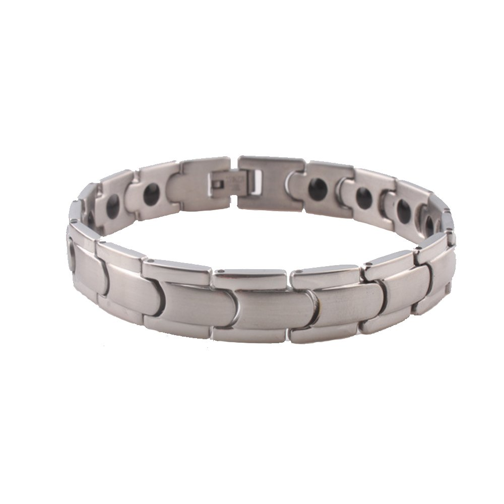 Duseco Smart Silver Stainless Steel Natural Healing Magnetic Men Therapy Bracelet Pain Relief for Arthritis and Joint Pain