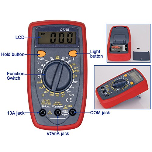 OLSUS DT33B LCD Handheld Digital Multimeter for Home and Car - Red by OLSUS (Image #5)