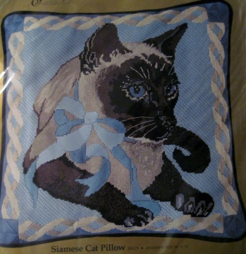Something Special: Siamese Cat Pillow Needlepoint Kit - 14x14 Inches , #30629 - Cat Needlepoint Pillow