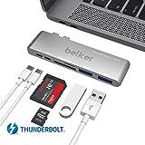 Belker tech 6 in 1 Hyperdrive Thunderbolt 3 USB-C Hub for MacBook Pro / Fastest 40Gb/s hub for for the 2016 /2017 MacBook Pro / Adds Thunderbolt 3,USB-C,2 x USB 3.0 ports, microSD, SD(Sliver)