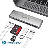 Thunderbolt 3 USB-C Hub for MacBook Pro /Belker tech 6 in 1 Hyperdrive Fastest 40Gb/s hub for for the 2016 /2017 MacBook Pro / Adds Thunderbolt 3,USB-C,2 x USB 3.0 ports, microSD, SD(Sliver)