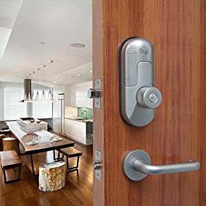 Digi Keyless Keypad Fingerprint Deadbolt Double Cylinder Door Lock Deadlock Knob Lever Handleset 98B High security (Satin Chrome) (Right Lever Handle)