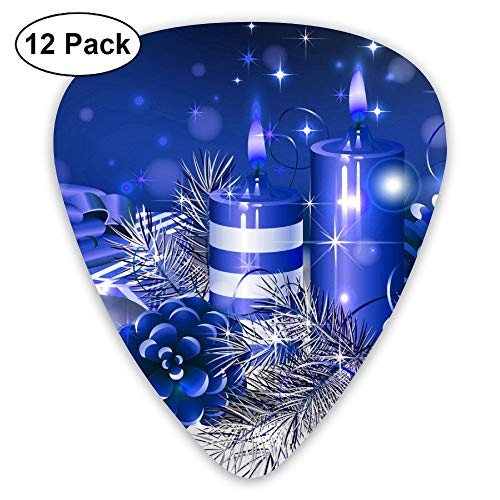 Blue Christmas Candle Pine Cone Ultra Light 0.46 Medium 0.71 Heavy 0.96mm Printed Round Flat Celluloid Jazz Electric Acoustic Bass Guitar Pick Ccessories Variety Pack ()