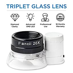 Fancii LED Illuminated 20X Jewelers Loupe Magnifier, Triplet Glass - Premium Aluminum Magnifying Eye Loop Best for Jewelry, Diamonds, Gems, Coins, Engravings and More!