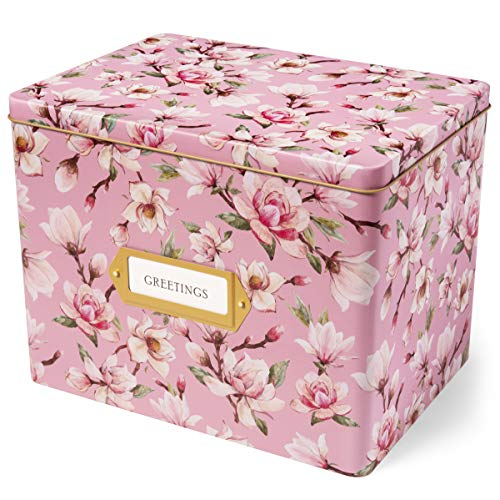 Jot & Mark Greeting Card Organizer Tin Box with Tabbed Dividers (Magnolia)