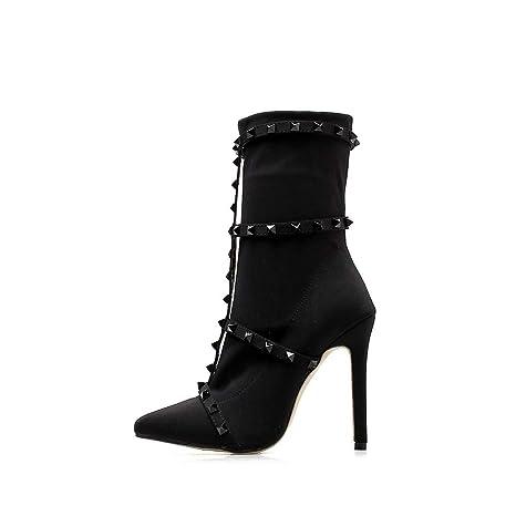 3ece94b5b3bb Amazon.com  JingZhou Rivet Sock Boots High Heels Women Pointed Toe ...