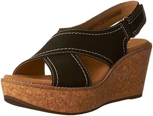 Clarks Artisan Aisley Tulip Women Open Toe Leather Yellow Wedge Sandal