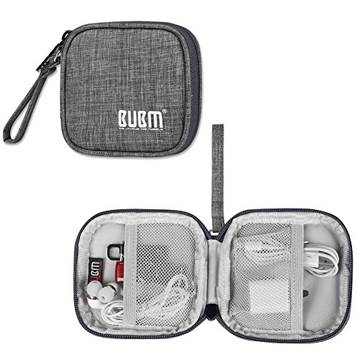 BUBM Carrying Case Storage Bag for Earphones/Charger Cables/USB Plugs and Other Mobile Accessories, Gray