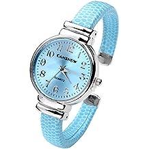 Top Plaza Women Casual Chic Simple Bangle Cuff Bracelet Dress Quartz Watch 6.5'',Thanksgiving Christmas Gift,Light Blue