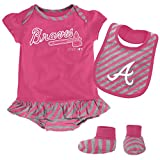 MLB  Atlanta Braves Infant Girls Pink Bib & Booty-18 Months