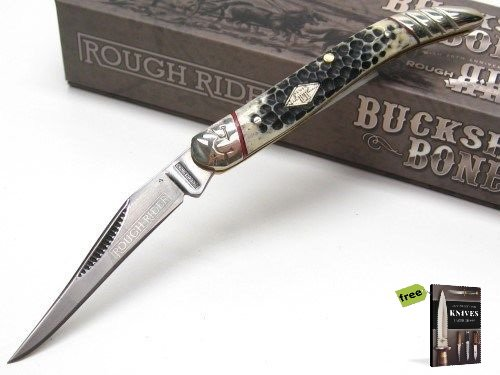 Free Mini Pick Set (ROUGH RIDER Buckshot Bone SMALL TOOTHPICK Straight Pocket Folding Knife + Free eBook by SURVIVAL STEEL)