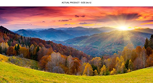 WindowPix 24x12 Inch Decorative Static Cling Window Film Magical Tuscan Sunrise . Printed on Clear for Window Glass panels. UV protection, Energy Saving.