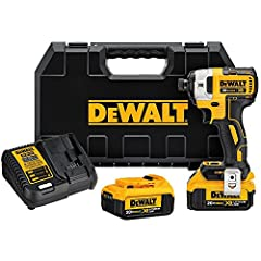 """The DEWALT DCF887M2 20V MAX XR Li-ion Brushless 1/4"""" 3-Speed Impact Driver Kit (4.0 Ah) features a DEWALT built brushless motor and XR Lithium-Ion batteries which deliver more run time and capacity over standard units. This impact driver has ..."""
